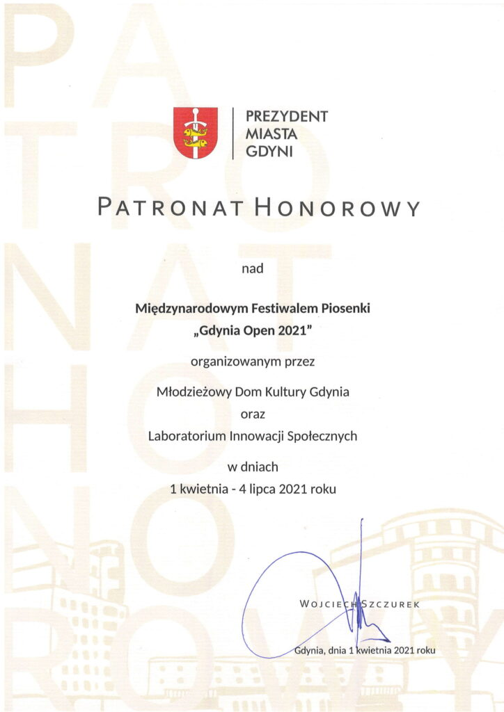 Honorary Patronage of the Major of Gdynia